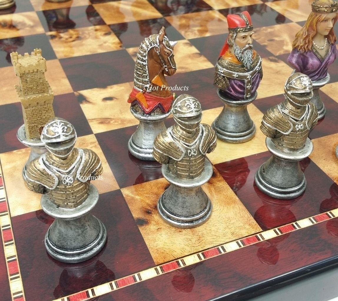 Moyen âge croisades bustes peints Chess Set  avec 18  CHERRY Couleur Board  économiser jusqu'à 80%