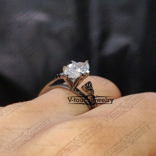 1.00 ct Marquise Cut VVS1 Diamond Engagement Solitaire Ring 14K Black Gold Over