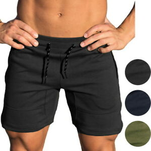 New Sport Men Gym Shorts Bodybuilding Running Training Fitness Workout Cotton DS
