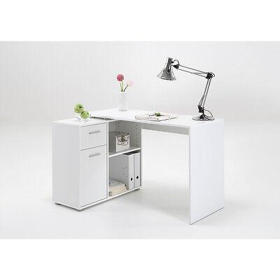 """ALBRECHT"" Multi-configuration Corner Desk with Cupboard/Shelves in White"