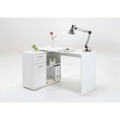 """ALBRECHT"" Multi-configuration Corner Desk with Cupboard/Shelves in White"