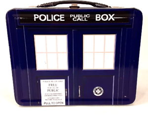 Dr-Who-Collectible-Metal-Lunchbox-Police-Public-Call-Box-Tin-Metal-Container