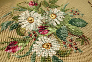 Antique-White-Daisy-Rose-Bud-Bunch-Hand-Crafted-Pre-worked-Needlepoint-Canvas