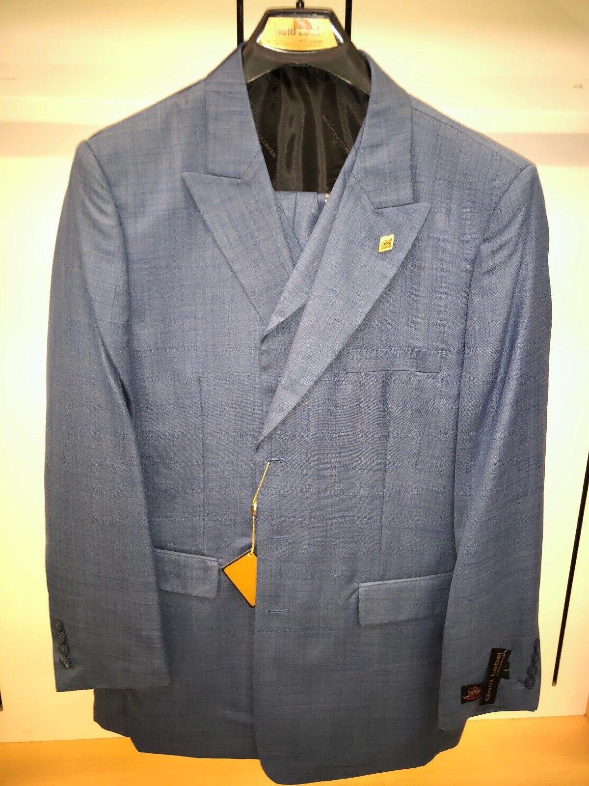 BNWT Stacy ADAMS 44R Mid Blau Fashion Solid  Harvey Exotic Classy Suit 3PC Steve