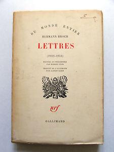 HERMANN-BROCH-LETTRES-1929-1951-NRF-DU-MONDE-ENTIER-1961