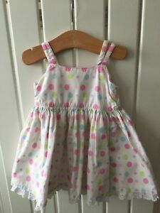 Baby Girl S Clothes 0 3 Months Pretty Cotton Spotted Party Dress Ebay