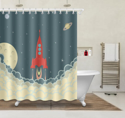 "72x72/"" Decor Launch Cargo Spacecraft Rocket Ship Bath Mat Shower Curtain 3551"