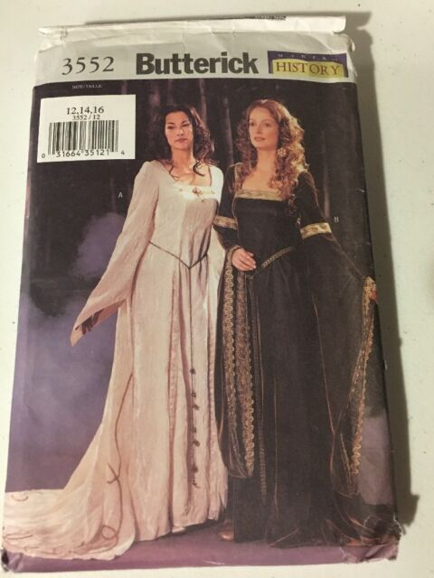 18b78afdb2a Butterick Sewing Pattern 3552 OOP Misses Medieval Dress Costume Sizes 12-16  for sale online