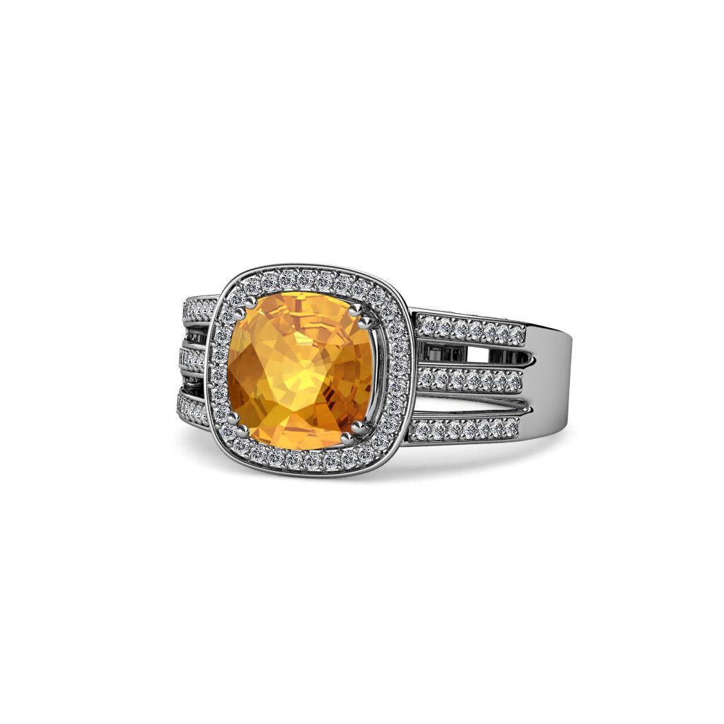 Citrine and Diamond Split Shank Halo Ring 2.65 Carat tw 14K White gold JP 109285