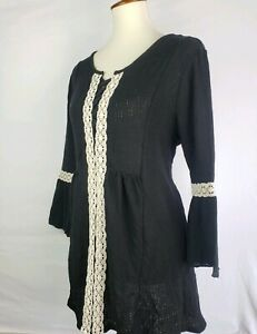 Style-Co-Black-Boho-Peasant-Top-Womens-Size-L-Crochet-Trim-Chic-Bell-Sleeve-54