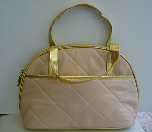 ELIZABETH-ARDEN-Gold-Makeup-Cosmetics-Bag-with-top-handle-Large-Size-Brand-NEW