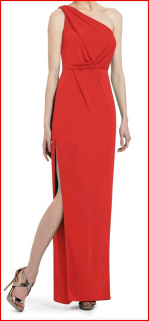 BCBG SNEJANA RED BERRY ONE SHOULDER HIGH SLIT GOWN  Size LP NWT $298-RackD/71
