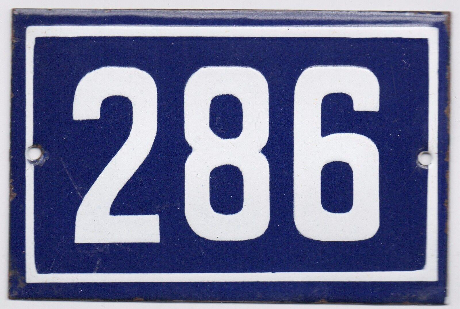 Old Blau French house number 286 door gate plate plaque enamel steel metal sign