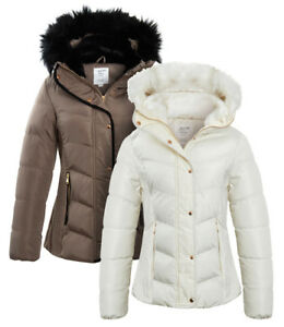 NEW-PADDED-Womens-Fur-WINTER-COAT-Ladies-Jacket-Size-8-10-12-14-Quilted-Black