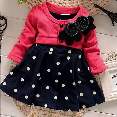 Baby Girl Toddler Party Long Sleeve Polka Dot Princess Tutu Bow Dress Skirt