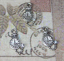 Cute mini Alice In Wonderland pocket watch charms with rhinestone x10