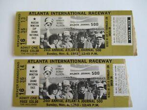 VTG-1983-ATLANTA-JOURNAL-500-Nascar-2-Ticket-Stubs-NEIL-BONNETT-Auto-Race-Winner