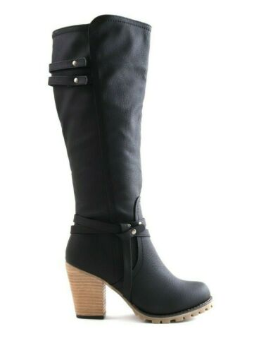 LADIES WOMENS BLOCK HEEL KNEE HIGH GRIP SOLE ZIP RIDING WESTERN BOOTS SHOES SIZE