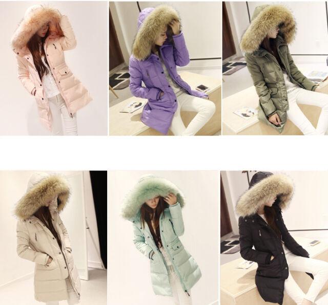 Luxurious Winter Warm Thick Womens Ladies Real fur Long Hood Coat Jacket Parka