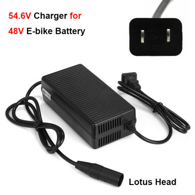 54.6V 2A Power Charger lotus Head fr 48V Lithium Battery Electric Bicycle E-Bike