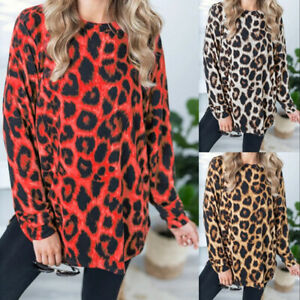 Women-039-s-Leopard-Print-Long-Sleeve-Casual-Tops-Ladies-Pullover-Blouse-T-Shirt