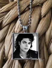Michael Jackson Vintage Portrait Art Glass Pendant Silver Chain Necklace  NEW