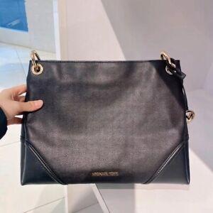 Michael Kors Nicole Leather Medium Shoulder Bag - Black