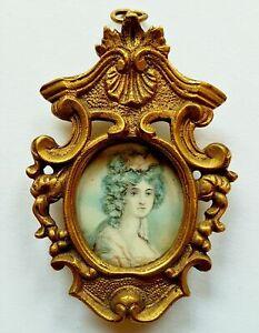 (b172) Miniature Portrait D'une Jeune Dame, Dans Le Cadre Bronze, Pour 1800-afficher Le Titre D'origine