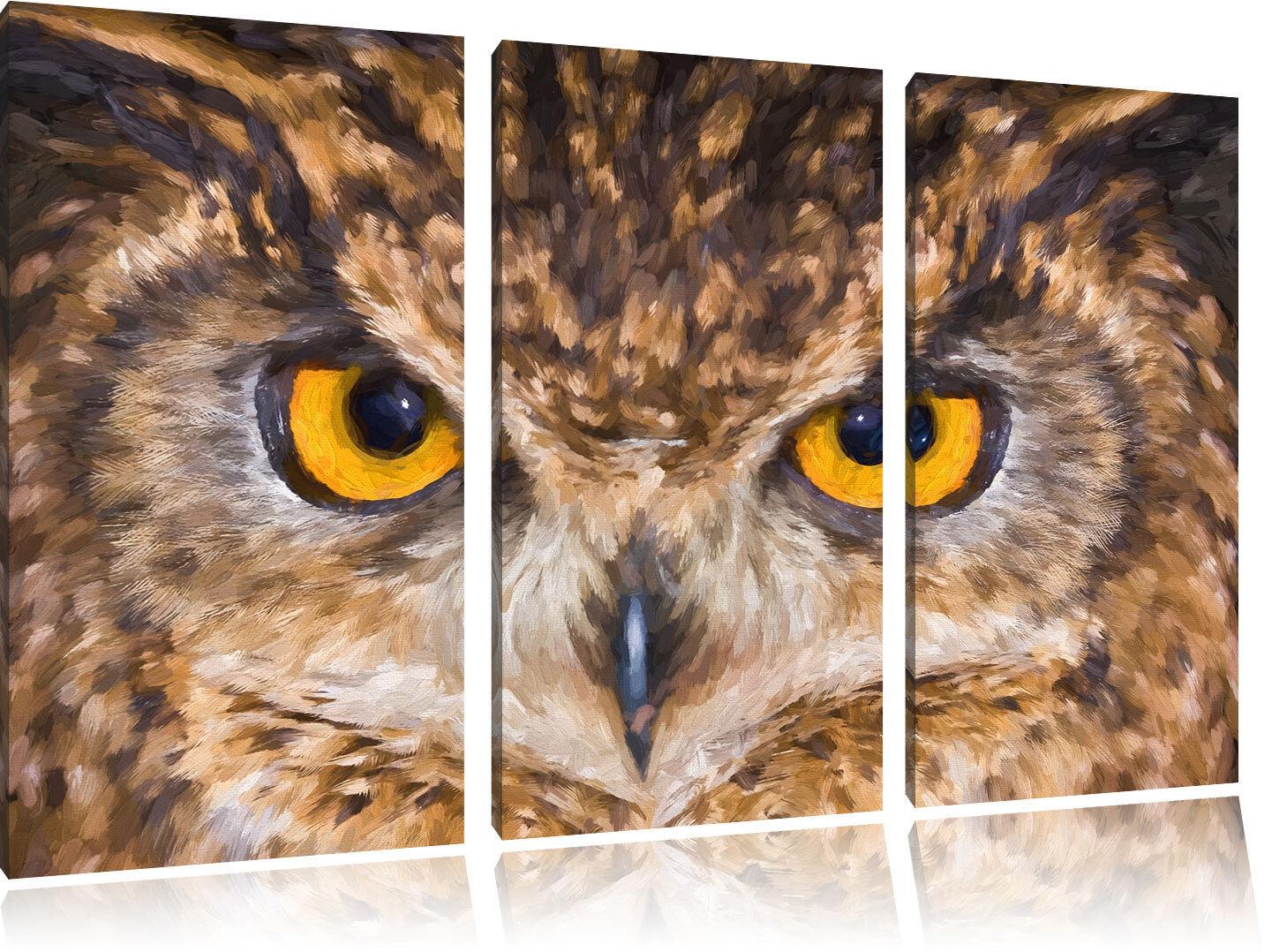 Eule mit gelben Augen Pinsel Effekt 3-Teiler Leinwandbild Wanddeko Kunstdruck