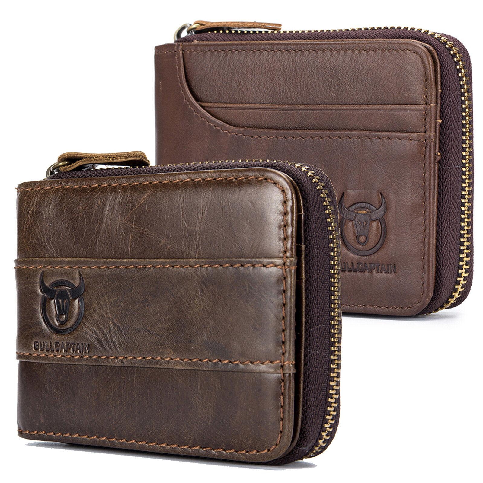 Mens Wallet Genuine Leather RFID Zipper Around Bifold with Coin Pocket Handmade