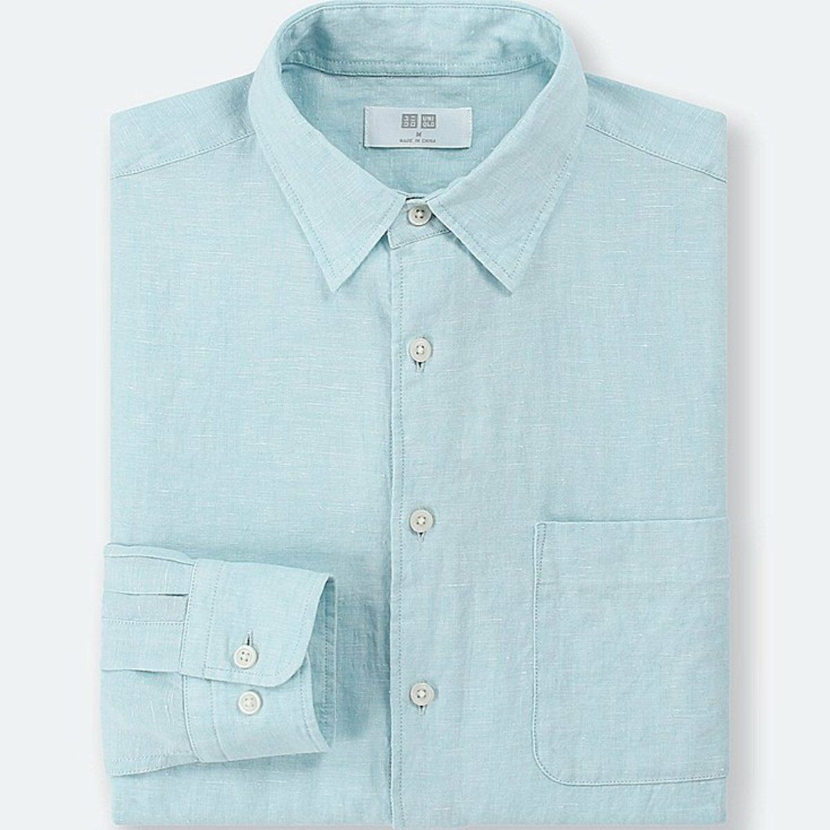 e59299b3 UNIQLO Men's Premium Linen Long-Sleeve Shirt L GREEN (51) NWT French ...