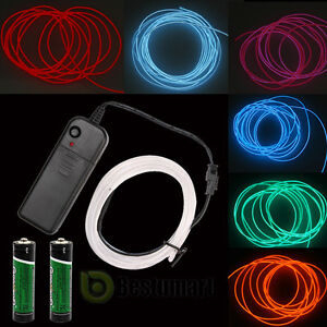 Neon LED Light Glow EL Wire String Strip Rope Tube Car Dance Party ...