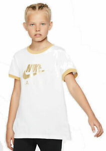 Nike-Girl-Sport-Freizeit-T-Shirt-G-Tea-Trible-White-Gold-Sportunterricht