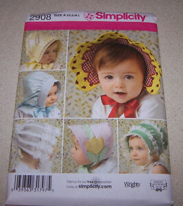 c4979d0fa9e SIMPLICITY PATTERN 2908 BABIES  AND TODDLERS  HATS IN FOUR SIZES XS ...