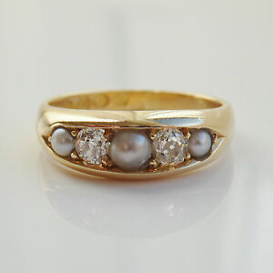 Stunning-Antique-Victorian-18ct-Gold-Diamond-0-20ct-amp-Pearl-set-Ring-c1890