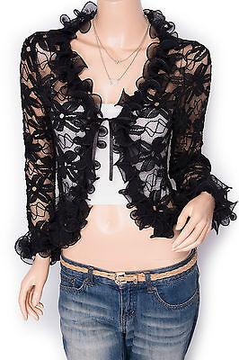 Free Necklace Stylish Ruffles Lace Floral Shrug Bolero Cardigan Jacket Top