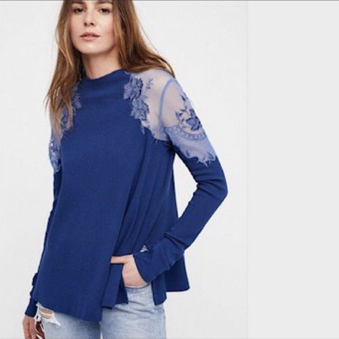 NWT Free People Daniella Embroiderot Illusion Top Sz Small S Blau