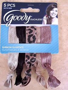 Goody-Ouchless-Ribbon-Elastic-Ponytail-Holders-5-Pack-Multi-Colored-NEW-0880