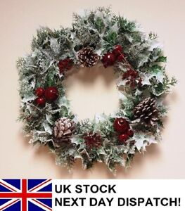41-cm-Artificiale-Natale-Xmas-Corona-BIANCANEVE-bacche-Holly-Ivy-FELCE-Fogliame