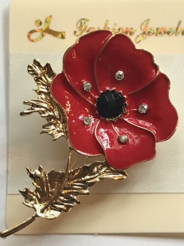 Commemorative Poppy Brooch Pin
