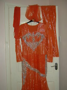 ladies-orange-fish-tail-wedding-party-special-occasion-maxi-dress-size-10-12