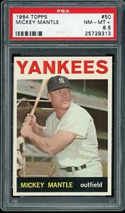 MICKEY-MANTLE-1964-TOPPS-YANKEES-CARD-50-PSA-8-5-CENTERED