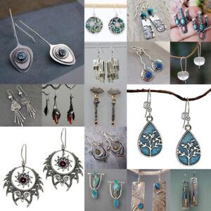 Women-925-Silver-Sapphire-Dangle-Drop-Ear-Hook-Fashion-Wedding-Gift-Earrings
