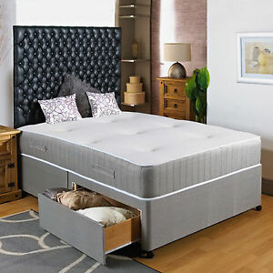 4ft small double divan bed 11 pocket sprung mattress for Double divan bed with four drawers