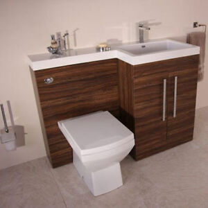 Image Is Loading Bathroom Furniture Suite Walnut Shelves Cupboards Vanity Unit