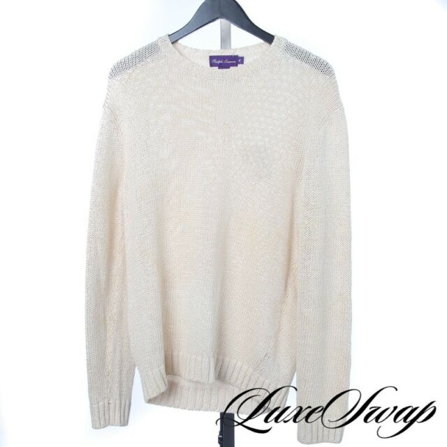 Ralph Lauren Purple Label Made Italy French Vanilla Chunky Loose Knit Sweater M