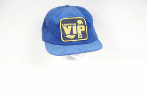 Vintage Caterpillar VIP Corduroy With Patch Snapback Adjustable Blue Hat Adult