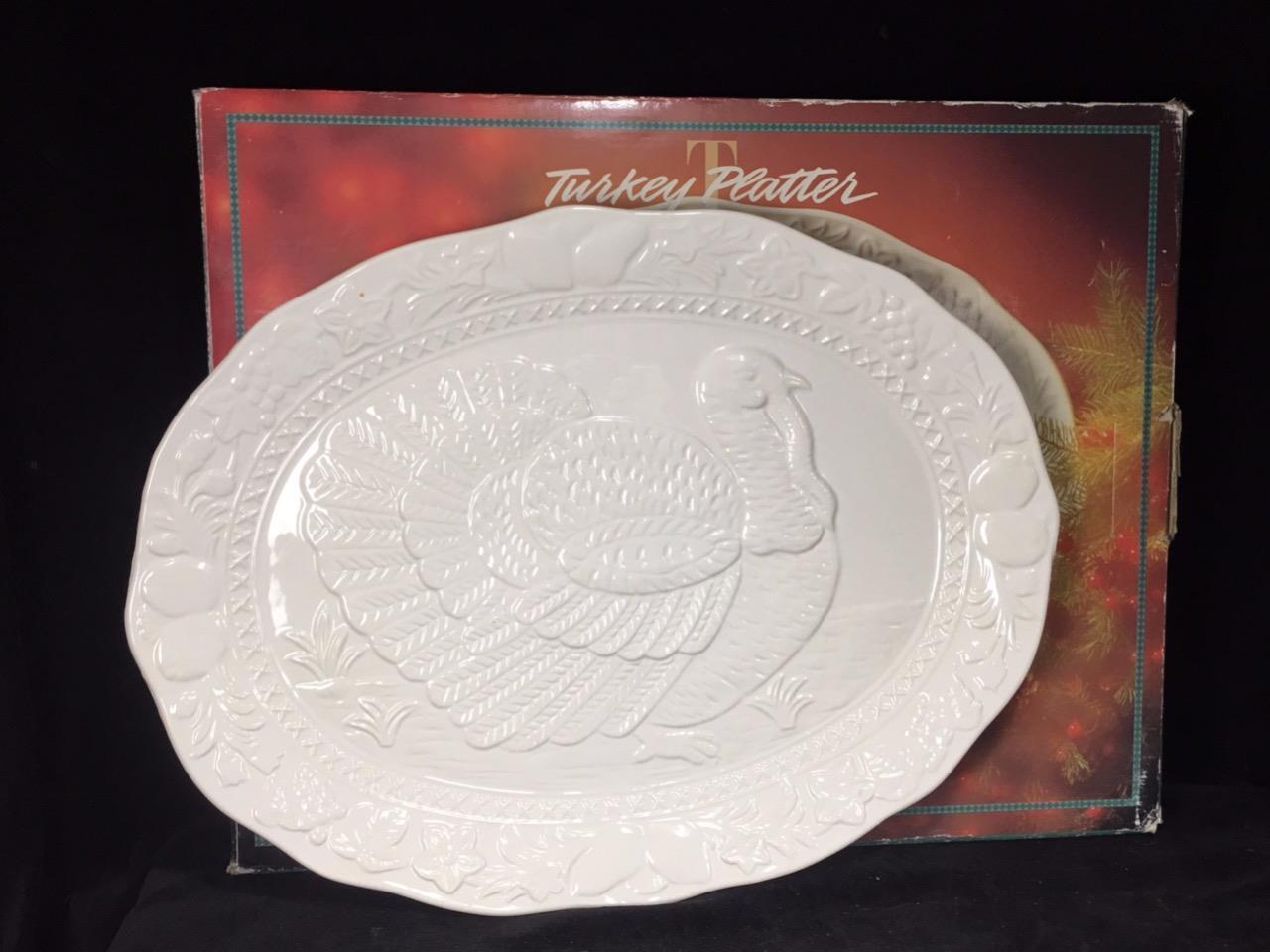 Vintage Earthenware White Turkey Platter 18  x14  NIB New In Box Dayton Hudson