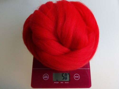 Rouge Coquelicot 100/% Merino Wool Roving géant fil Extreme Bras Tricot 100 g 1 kg