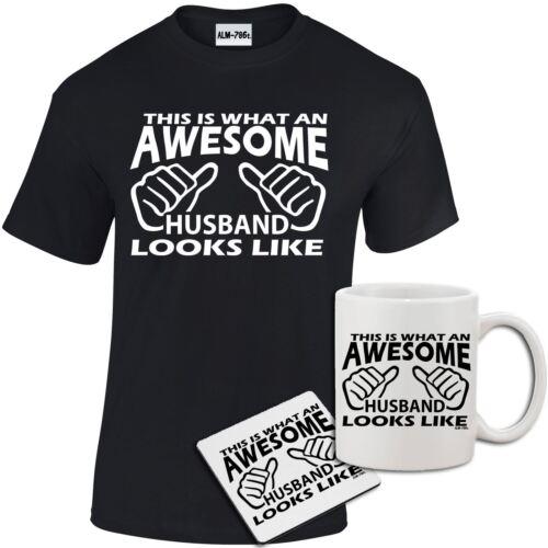 Mens Awesome Husband Printed Funny T shirt Coaster Gift Set dad uncle Mug